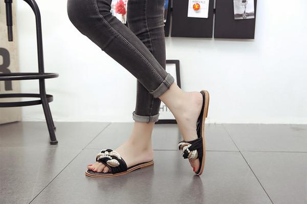 2019 fashionville ~ u724 40 perles de cuir véritable perles mules sandales diapositives chaussures tongs noir rouge la mode estivale à la mode
