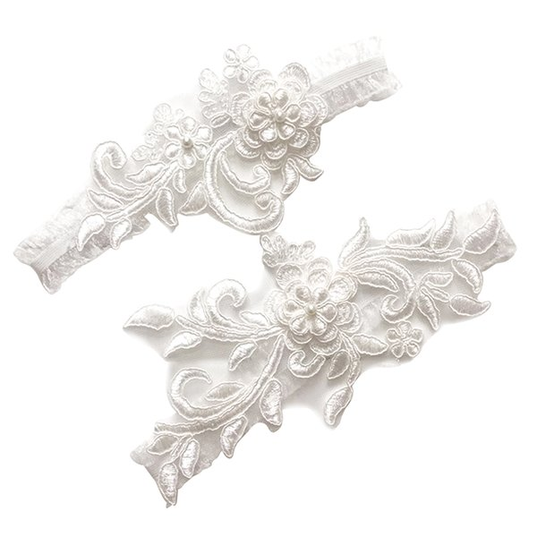 cyclamen9 Wedding Floral Lace Garter Bridal Rhinestones Garter Belt Set, Ivory Wedding Sets