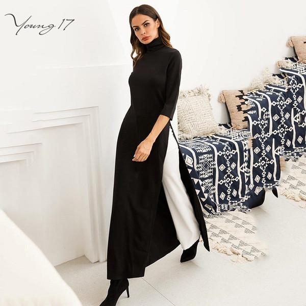 dd36c6bdc0da Young17 Women Party Work Plus Size Elástico asimétrico vestido maxi negro  primavera invierno elástico de alta