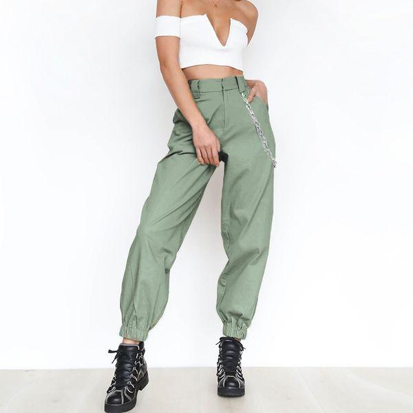 Womens Harem Loose Long Pants Chain Decoration High Street Pants Solid Color Woman Hip Hop Long Trousers Casual Pants