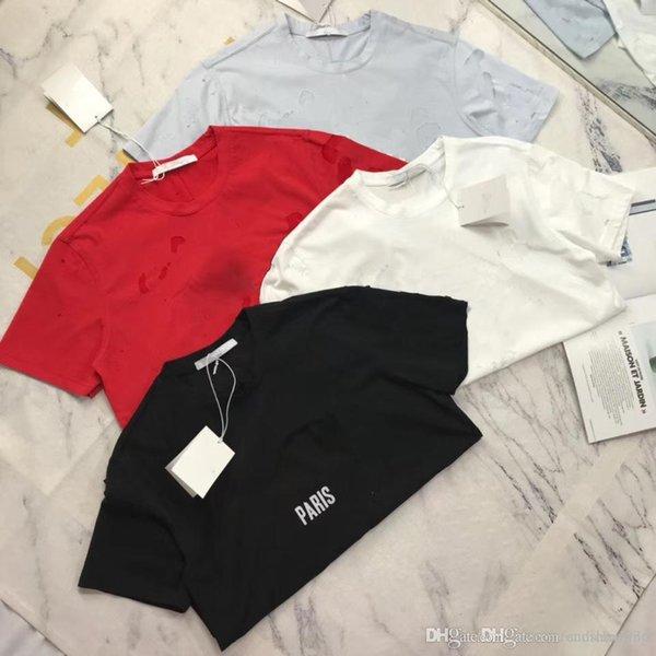 2019 giv Yaz Sokak giyim Avrupa Paris Moda Erkekler Yüksek kalite Büyük Kırık Delik Pamuk Tshirt Casual Kadın Tee T-shirt S-2XL