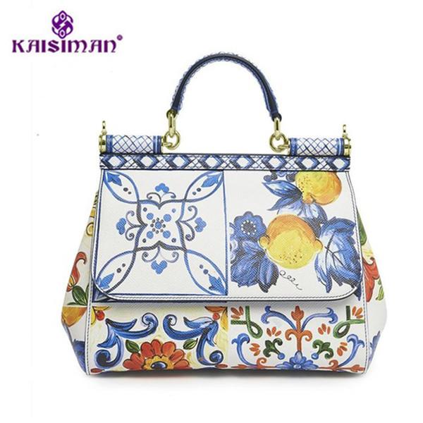Luxury Italy Brands Sicily Elegant Lady Bag Fruit Flower Print Tote Handbags Genuine Leather Women White Messenger Shoulder Bags