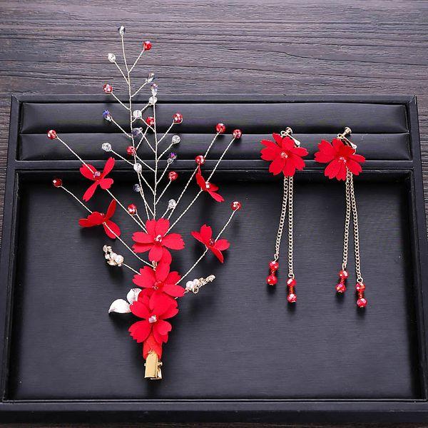 Vintage Chinese Red Flower Beads Handmade Hair Pins Clip Tassel Drop Earring Bridal Headpiece Wedding Jewelry Accessories Set SL