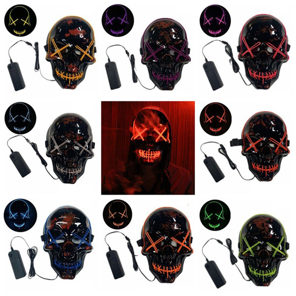 Halloween Mask LED Purge Mask Light Up Scary Skull Glow Masks For Adult Kids Halloween Rave Party Masks 10 Colors ZZA1258 100PCS