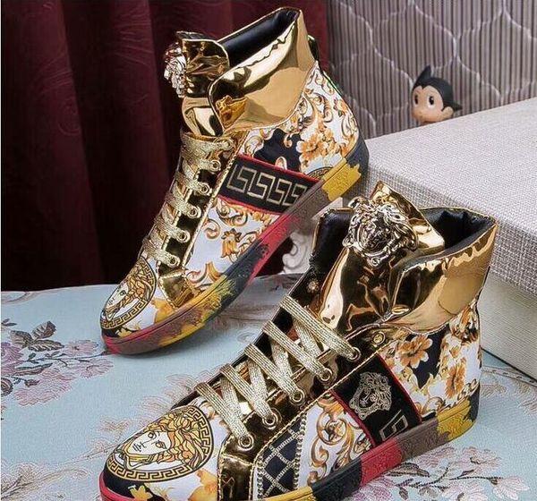 Moda fasulye ayakkabıları, altın iplik nakış, moda erkek rahat ayakkabılar, rahat, tembel ayakkabı, ince boya deri, sürüş ayakkabı e16