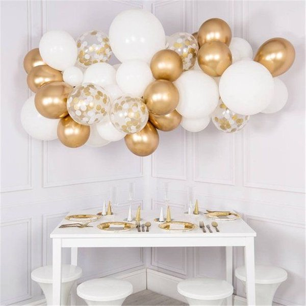 30pcs Mixed White Chrome Gold Confetti Balloons Birthday Party Decoration Kids Adult Air Ball Graduation Party Globos Balloons Y19061502