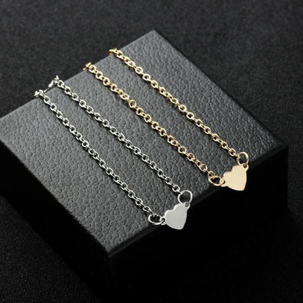 Vendita calda semplice affascinante cuore bracciali braccialetti per le donne ragazze oro argento colore metallo bracciali dichiarazione gioielli all'ingrosso