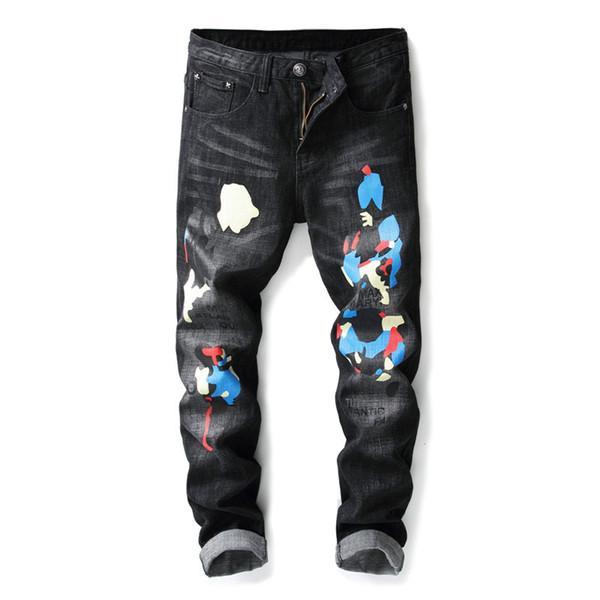 Хип-хоп Одежда Дизайнерские брюки с принтом Черные разрушенные мужские Тонкие джинсовые прямые байкерские джинсы скинни для мужчин Рваные джинсы Размер 28-38