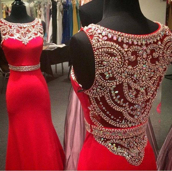 New Elegent Evening Dresses Wear Jewel Neck Mermaid Red Satin With Crystal Beading Long Formal Plus Size Cheap Party Gowns Prom Dress