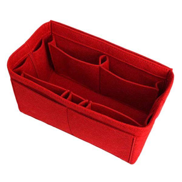 Red Principal de almacenamiento del monedero del bolso del organizador del maquillaje fieltro Insertar organizador del bolso del interior del cosmético del monedero portátil bolsas de almacenamiento de bolsas