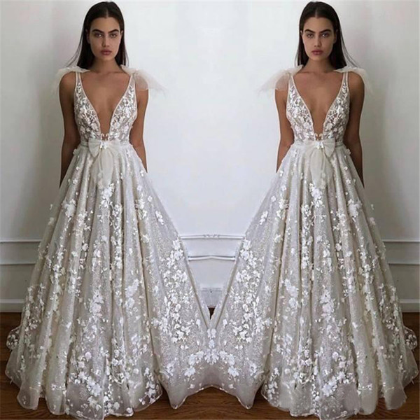 2019 Summer Beach Boho Wedding Dresses A Line Sexy Deep V Neck Appliques Fitted Bow tie Backless Garden Bridal Gowns Plus Size