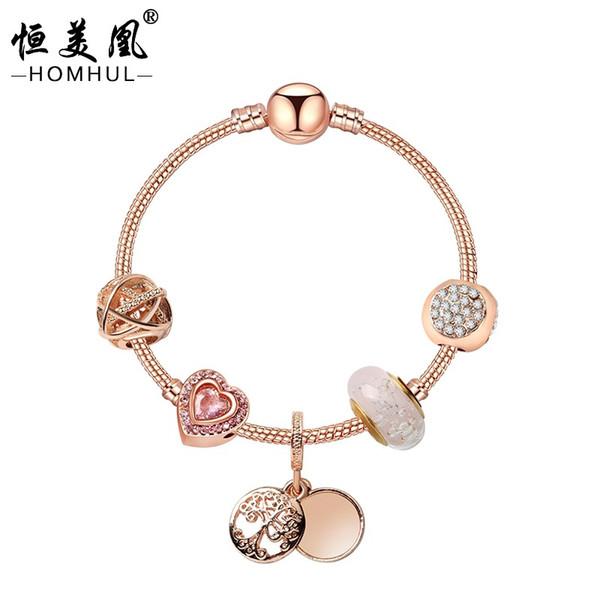 Пандора стиль сплава женщин браслет с покрытием из розового золота жизни дерева подвески браслеты аксессуары дамы переплетенный браслет из бисера подарок партии