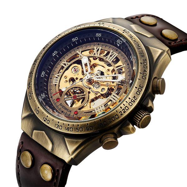 Men Mechanical Watch Automatic Watch Skeleton Self Winding Men Watches Retro Leather Steampunk Transparent Wristwatch Clock