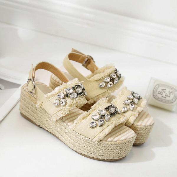 MONMOIRA Cristal Femmes Sandales Slingback Pêcheur Espadrilles Sandales Strass Plate-Forme Femmes D'été Chaussures SWC0200