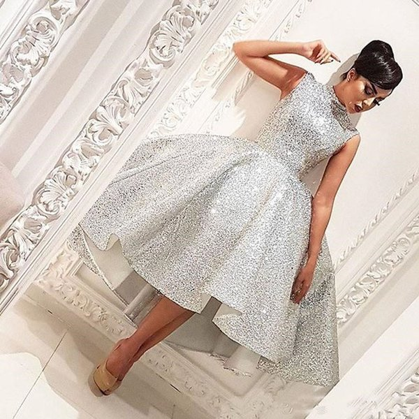 Bling Bling Sequined High Low Prom Party Dresses 2019 High Neck Sleeveless Arabic Long Formal Gowns