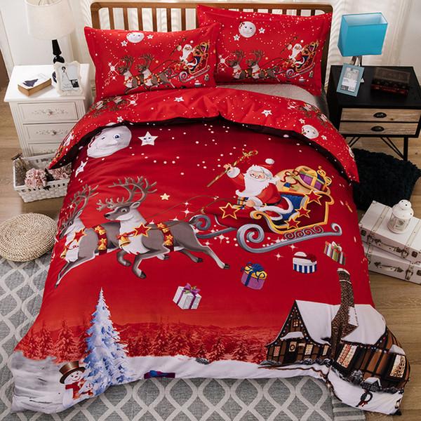 De Noël De Noël Literie Housse De Couette Taie D'oreiller Père Noël Linge De Lit Décorations De Noël pour Chambre Queen King Size