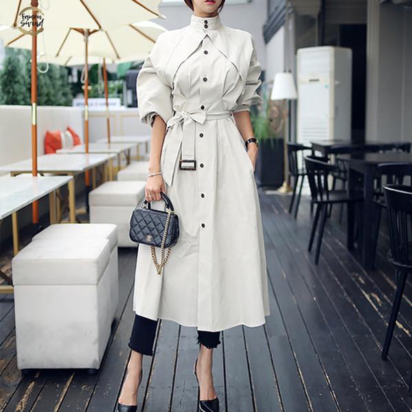 Confortável frouxa A linha de chegada New alta qualidade Mulheres Moda Trench Coat Professional temperamento quente ao ar livre Longo Trench