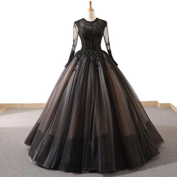 Black Long Sleeves Vintage High-end A Line Prom Dresses 2019 Handmade Flowers Fashion New Evening Wear Gowns vestidos de fiesta de noche