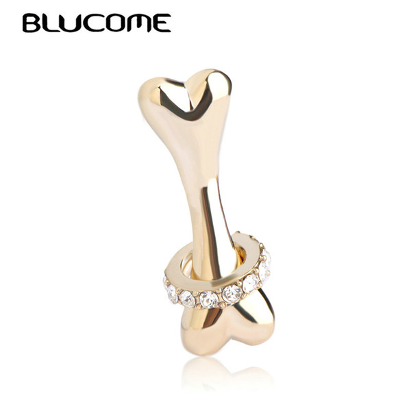 Cheap Brooches Blucome Cute Gold Color Bone Shape Brooches Best Gifts for Dog Lovers Kids Coat Clothes Accessories Clips Alloy Jewelry Pins