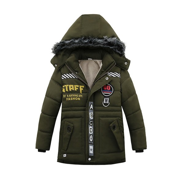 UK Kids Boys Winter Warm Hooded Padded Coat Jacket Parka Parka Outwear 2-6 Years