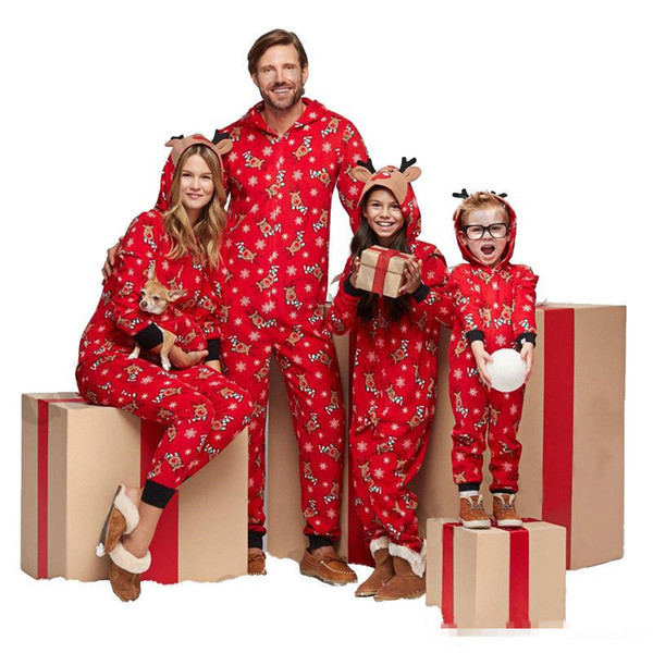best selling Family Christmas Matching Pajamas Mom Dad And Kids Sleepwear Family Matching Hooded Jumpsuits Christmas Deers Snowflake Printed Family Look