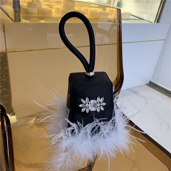 Caja de moda Bolso de noche Diamante Ins Cadena Avestruz de pelo Bolso de embrague Bolso de lujo Banquete Fiesta Monedero Hombro de la mujer