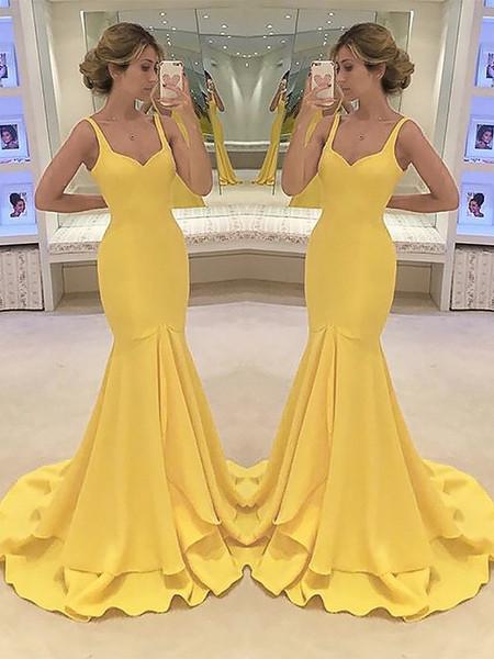 Vestidos De Festa Sarı Mermaid Şifon Sevgiliye Boyun Uzun Gelinlik Modelleri 2019 Katmanlı Kolsuz Kat Uzunluk Balo Elbise