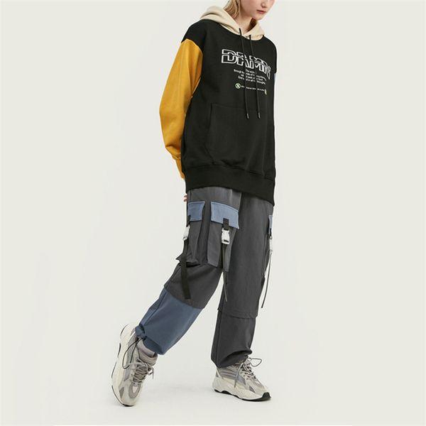 19 Hip Hop para mujer para hombre Pantalones marca con gris grande del color del deporte del bolsillo relajado Correr Streetstyle pantalones ocasionales de calidad superior B101671V