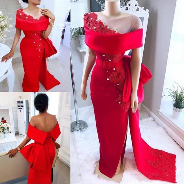 Elegante Arábia Vermelho Árabe Vestidos de Desgaste Da Noite Com O Pescoço Pesado Arco Trem Frisado Pérolas Prom Vestido de Festa De Cetim Lado Dividir Africano Vestidos Formais