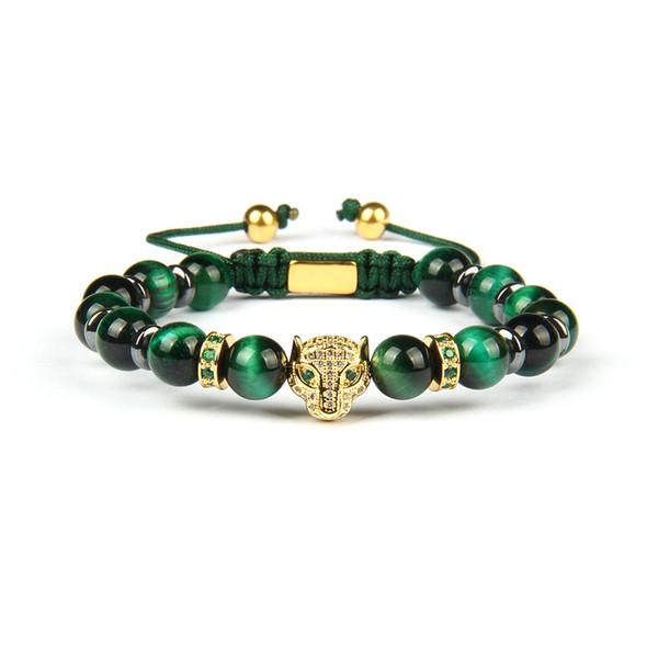 Leopard Bracciale intrecciato Pantera verde Cz Eye con Bracciali regalo 8 millimetri verde dell'occhio della tigre Perline di pietra naturale di lusso per gli uomini