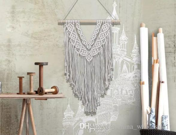 Wholesale Handmade Bohemia Macrame Tapestry with Delicate Texture Wedding Wall Hanging Natural Home Decor Handwoven Cotton Thread Craft