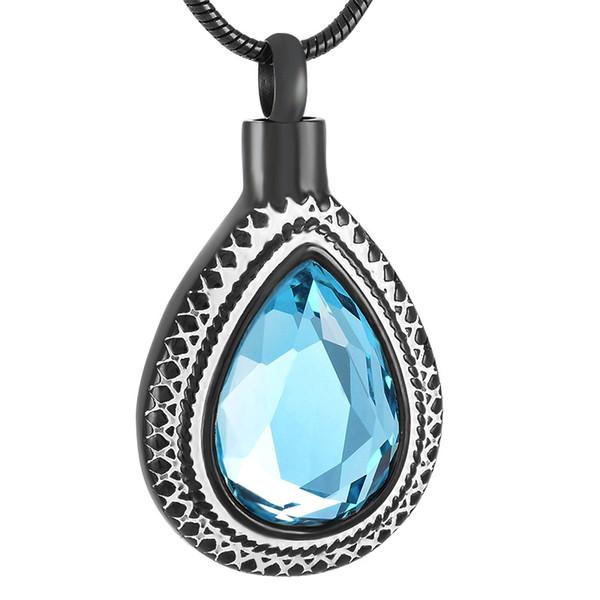 IJD9314 acciaio inossidabile nero waterdrop cristallo cremazione memoriale ciondolo per cenere urna souvenir collana ricordo gioielli per le donne