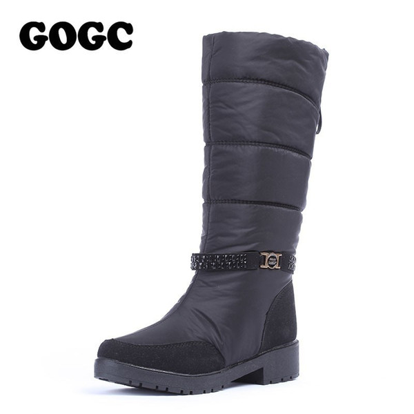 Bottes d'hiver imperméable GOGC femmes snowboots Chaussures Hiver chaud femmes grande taille confortable Bottes de marque Knee High 9890