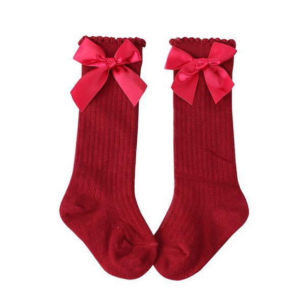 4 Colors Baby Girl Socks Chritsmas Red Sock Knee High Ribbon Bow Tie Princess Socks Cute Long Tube Booties Striped