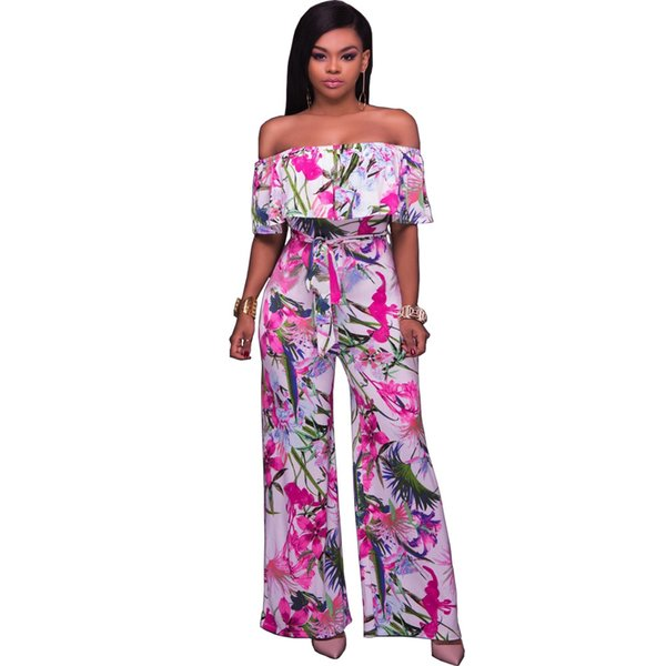 Ladies Jumpsuits off shoulder strapless loose printing long pants rompers woman summer casual