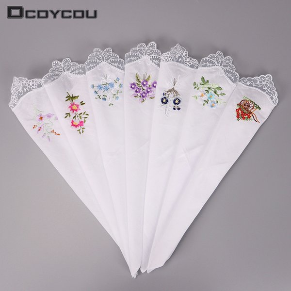 top popular 5pcs Vintage Cotton Girl Women Napkin Embroidered Butterfly Lace Flower Handkerchief C19041301 2021