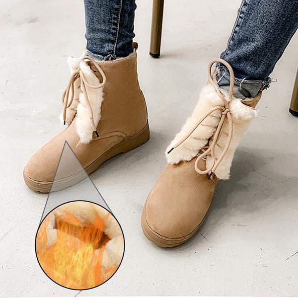 Plus Size 34-50 Stiefel Schuhe Frau Warm Plüsch 2020 Winter New Female Schuhe Casual-Schnee-Aufladungen High Top Höhe erhöhen