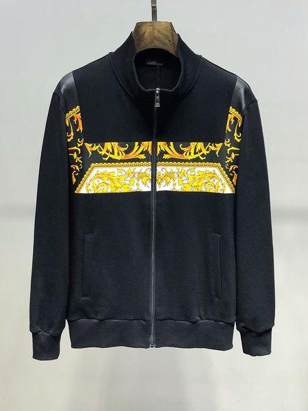 2019 New Mens Jacket luxo casual Moda masculina Streetwear Vestuário Vestuário Coats Jacket Men Imprimir Zipper Cardigan Casacos Hot Sale Tamanho M-3XL