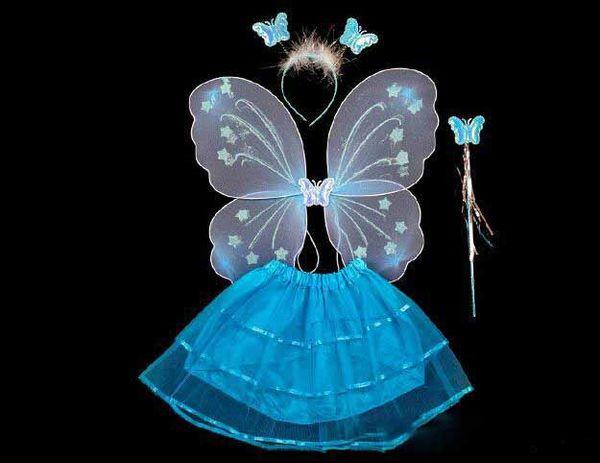 Costume de spectacle pour enfants montrer les accessoires papillon simple couche ailes d'ange quatre jeux de jouets baguette magique multicolore