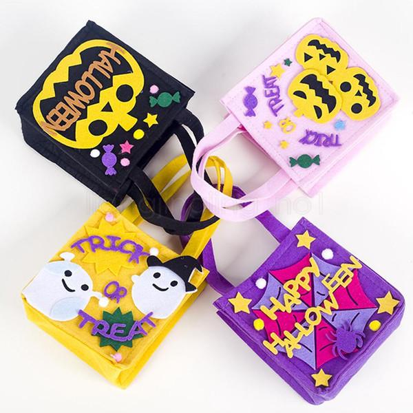 Tela no tejida 4styles Halloween Candy Bag Treat portátil bolsos Happy Halloween cesta o un truco de caramelo bolsas de regalo favorecen FFA2895