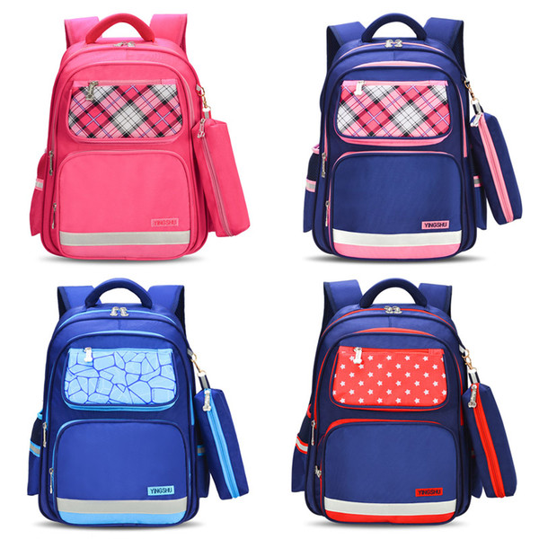 Zaino per studenti Cartoon School Back To School Boys Girls Letter Stars Zaino con cerniera cucita a scacchi Logo Kids Custom Leisure Travel Bag