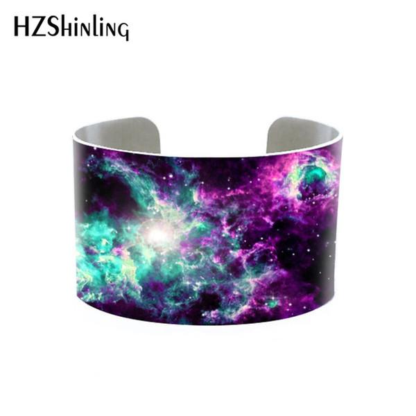 2019 New Arrival Beauty Galaxy Nebula Bangle Hand Craft Silver Cuff Bracelet Gift for Girls Men Women Jewelry Accessory
