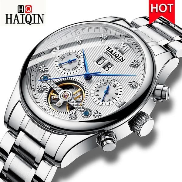 HAIQIN Relógios dos homens 2019 Novo Top de Luxo Da Moda Marca de Máquinas Dos Homens / Sports / Relógio À Prova D 'Água Relógio de Aço Inoxidável Dos Homens