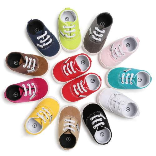 2019 High Quality Newborn Baby Boys Girls Canvas Lace Up Soft Sole Shoes Kids Toddler Boys Girls Shoes Sneakers Casual