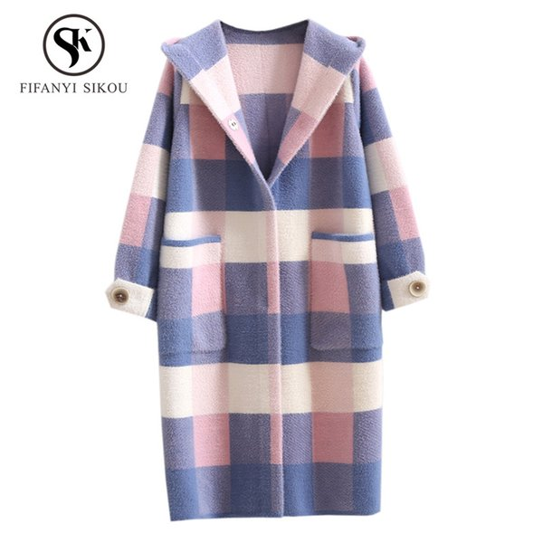 Fashion Plaid Mink Cashmere Long Cardigan Coat Hooded Sweater Women Casual Knitting Sweaters Coat Winter Thick warm Outerwear