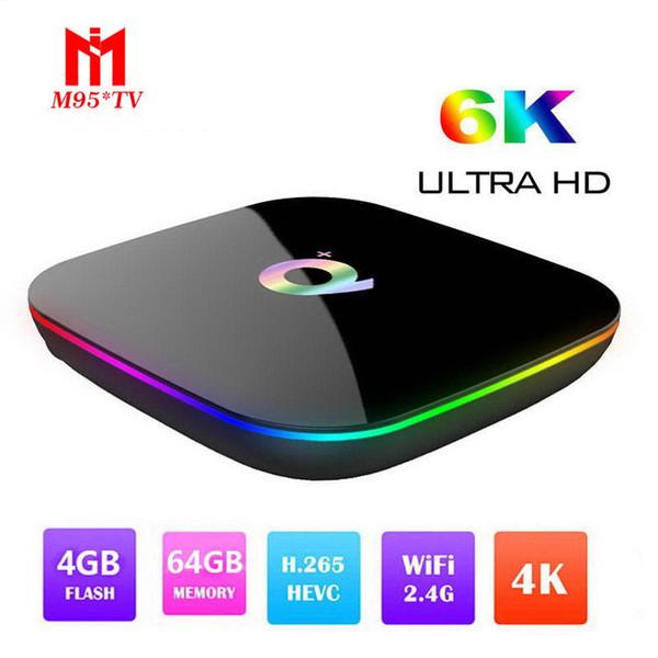 Q Plus Android 9.0 Caixa de TV Com H6 Quad Core CPU de 4 GB 32 GB 64 GB Streaming Media Player Suporte 2.4G Wifi set top box IPTV CAIXA
