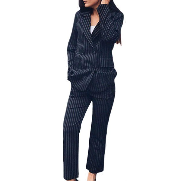 Women Double Breasted 2 Piece Sets Long Sleeve Casual Outfits Striped Blazer Jacket OL Commute Zipper Trousers Work Pant M-XL