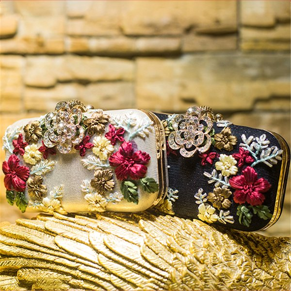 Women Clutch Bags Crystal Luxury Handbags Black Gold Silver Evening Bag Floral Wedding Bride Purse Ladies Small Shoulder Bags