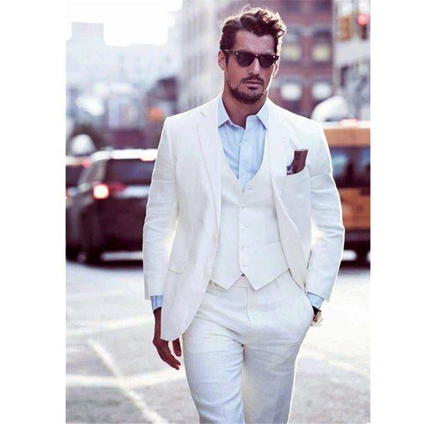 Fashion classic men's suit white lapel single-breasted men's office suits and groomsmen dress (jacket + pants + vest) custom