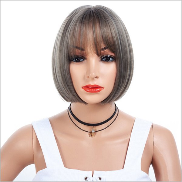 Light Brown And Silver Grey 12 inch Short Straight Heat Resistant Synthetic Hair Wig For Black/White Women Cosplay Or Party Bob Wigs